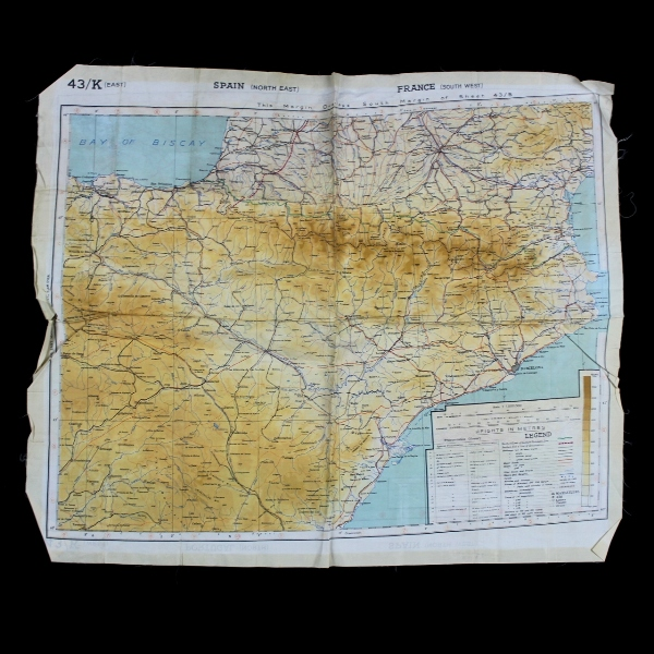 Map Of Spain Portugal And France.44th Collectors Avenue Silk Escape Map 43k Spain Portugal France
